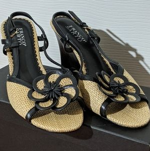 Franco Sarto Floral Straw Summer Wedge Espadrilles